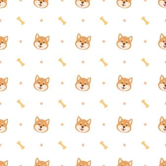 Ładny wzór psa shiba inu
