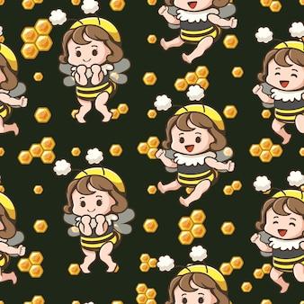 Ładny wzór pszczoły dziewczyna