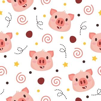 Ładny wzór świnia ilustracja projekt