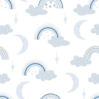 Ładny wzór tęczy zima. papier cyfrowy. kreatywny dziecięcy druk na tkaninach, opakowaniach, tekstyliach, tapetach, odzieży. ilustracja kreskówka wektor w pastelowych kolorach