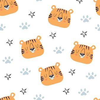 Ładny wzór tygrysa i gwiazd. ręcznie rysowane słodkie