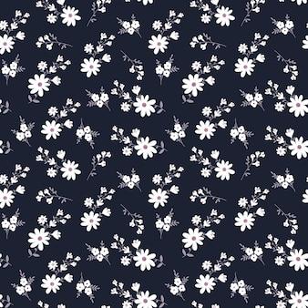 Ładny wzór w małe kwiaty na ciemnym tle wektor bez szwu kwiatowy wzór ditsy print