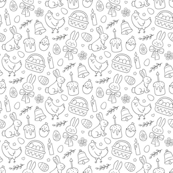 Ładny wzór wielkanocny doodle z królika, kosz, pisanki, ciasta, kurczaka, gałązki wierzby i świece.