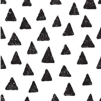 Ładny wzór z czarnymi trójkątami w stylu cartoon
