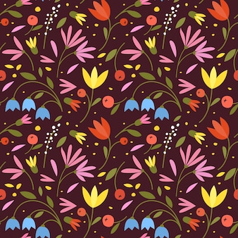 Ładny Wzór Z Kolorowymi Małymi Kwiatami Premium Wektorów