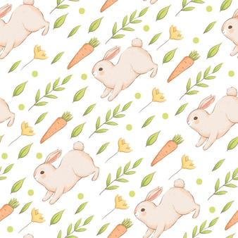 Ładny wzór z królikami, marchewką i kwiatami. wielkanocny wiosna wzór z bułeczkami. imitacja ręcznie robionych akwareli. kreskówka mieszkanie. na białym tle na białym tle.