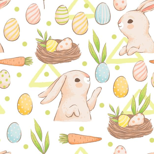 Ładny wzór z królików, marchewek i kolorowych jaj. wielkanocny wiosna wzór z bułeczkami. imitacja ręcznie robionych akwareli. kreskówka mieszkanie. na białym tle na białym tle.