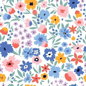Ładny wzór z kwiatami i liśćmi