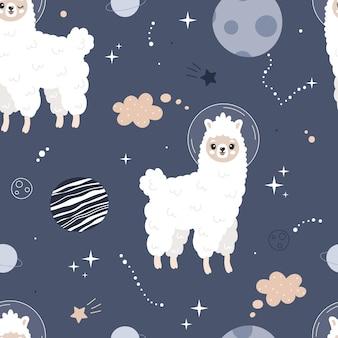 Ładny wzór z lamami w przestrzeni. urocza lama, gwiazda, planeta. tło wektor dla dzieci. pocztówka, plakat, odzież, tkanina, papier pakowy, tekstylia.