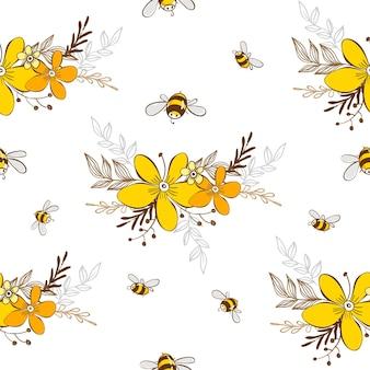 Ładny wzór z latających pszczół. ilustracja wektorowa eps10.