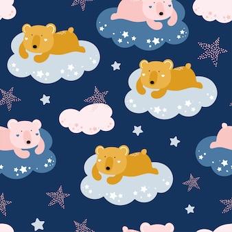Ładny wzór z niedźwiedziami na chmurach.