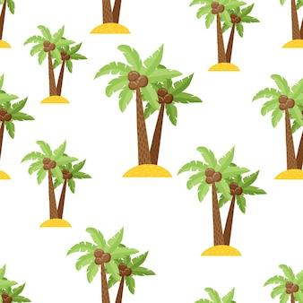Ładny wzór z palmami w stylu cartoon. jasne tło do nadruku na tkaninie, tapecie i papierze. wektor