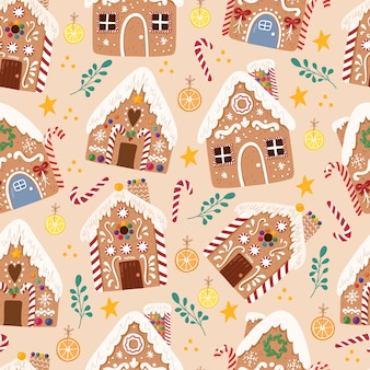 Ładny wzór z piernika houseweet tradycyjne świąteczne ciasteczka w ręcznie rysowane stylu