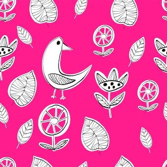 Ładny wzór z ptakiem i liśćmi