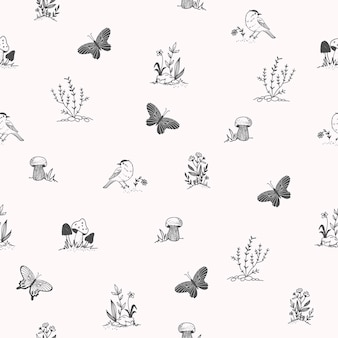 Ładny wzór z ptakiem, motyl, zioła. ręcznie rysowane elementy