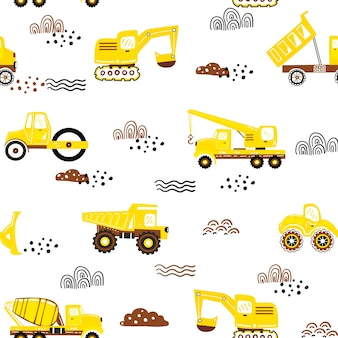 Ładny wzór z ręcznie rysowane maszyny budowlane wektor dziecinny ładny wzór samochodów