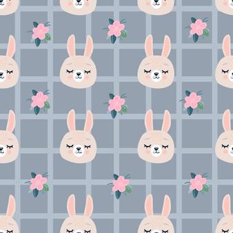 Ładny wzór ze spaniem królików głowy i kwiatów.