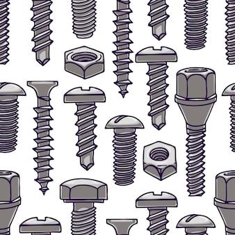 Ładny wzór ze śrubami i nakrętkami. ręcznie rysowane ilustracji