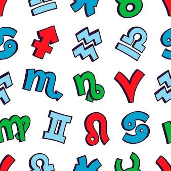 Ładny wzór znaków zodiaku. ręcznie rysowane ilustracji
