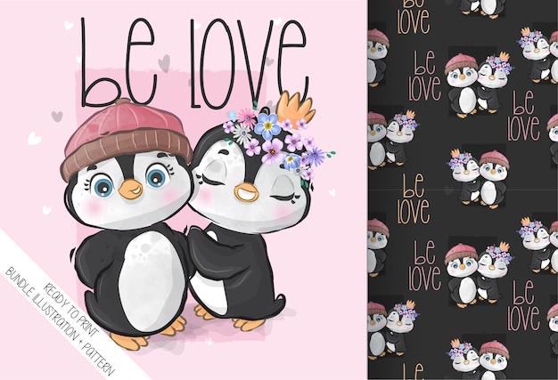 Ładny wzór zwierzęcy piękny pingwin dziecięcy. cute cartoon zwierząt.