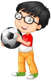 Ładny youngboy postać z kreskówki trzymając piłkę nożną