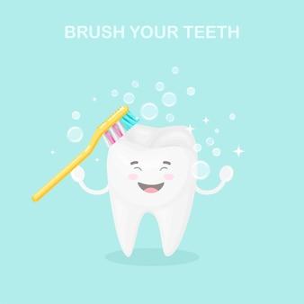 Ładny ząb z ilustracją szczoteczki do zębów