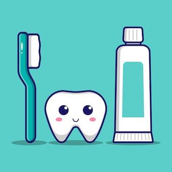 Ładny ząb ze szczoteczką do zębów i pastą do zębów