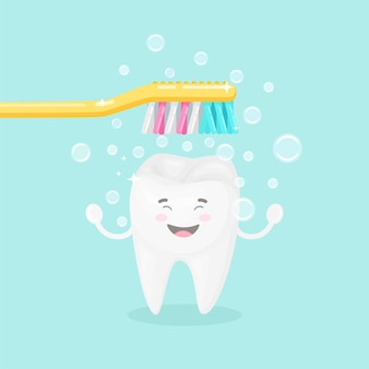 Ładny ząb ze szczoteczką do zębów na białym tle na blu