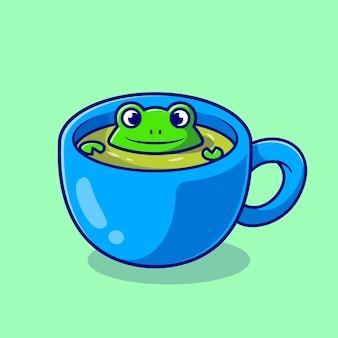 Ładny żaba w zielonej herbacie kreskówka wektor ikona ilustracja. koncepcja ikona napój zwierząt na białym tle premium wektor. płaski styl kreskówki