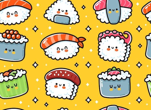 Ładny zabawny azjatycki japoński sushi znak wzór. wektor ręcznie rysowane kreskówka kawaii charakter ilustracja ikona. śliczne sushi kawaii, rolka, japonia azja jedzenie kreskówka bezszwowa koncepcja wzoru