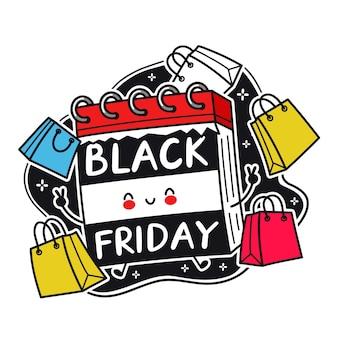Ładny zabawny charakter kalendarza biurko z torby na zakupy. wektor ikona ilustracja kreskówka kawaii płaska linia postać. odosobniony. koncepcja sprzedaży w czarny piątek