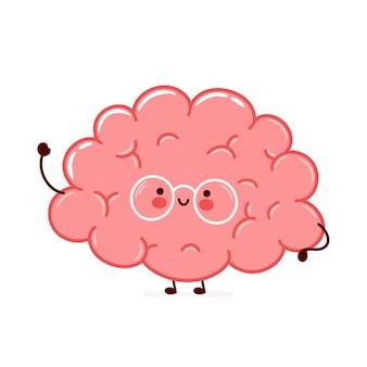 Ładny zabawny charakter narządów ludzkiego mózgu
