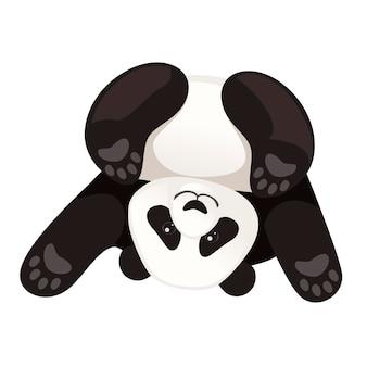 Ładny zabawny duży panda siedzieć na podłodze, głową w dół, kreskówka projekt płaski wektor ilustracja.