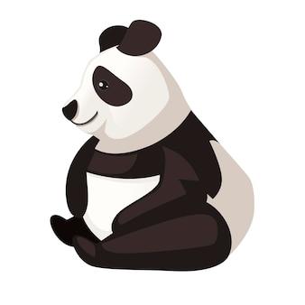 Ładny zabawny duży panda siedzieć na podłodze kreskówka projekt płaski wektor ilustracja.