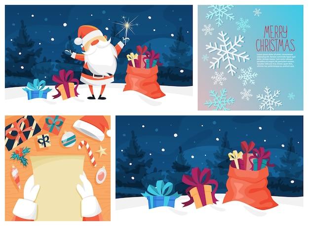 Ładny zabawny kartkę z życzeniami wesołych świąt. piękny design. święty mikołaj, drzewo i torba na prezent. śnieżny krajobraz.