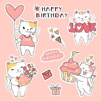 Ładny zabawny kot urodzinowy zestaw elementowy doodle sztuki dla naklejki, dziennika, karty do druku i karty z pozdrowieniami
