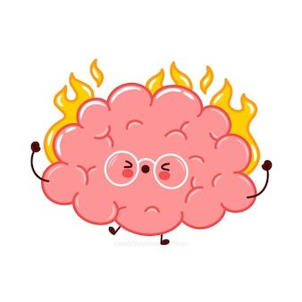 Ładny zabawny ludzki mózg narząd spalić postać. płaska linia ikona ilustracja kreskówka kawaii postać. na białym tle charakter narządów mózgu w koncepcji ognia
