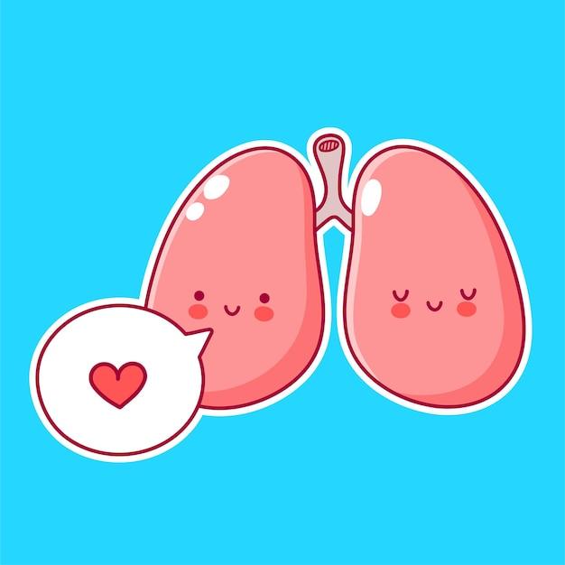 Ładny zabawny ludzki narząd płuc znak w dymku