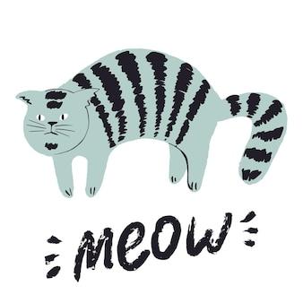 Ładny zabawny ręcznie rysowane kot wydruku doodle postać kota słodkie emocje dla zwierząt