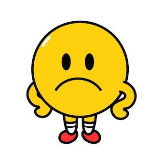 Ładny zabawny smutny emotikonów twarz. wektor płaska linia doodle kreskówka kawaii charakter ilustracja ikona. na białym tle. koncepcja postaci żółtego koła emoji