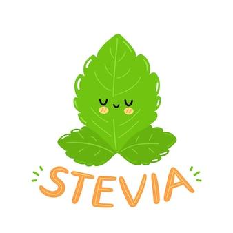 Ładny zabawny stewia liście projektowanie logo postaci. wektor płaskie kreskówka kawaii charakter ilustracja ikona. na białym tle. stevia tekst cytat logo, koncepcja postaci z kreskówek z liści cukru