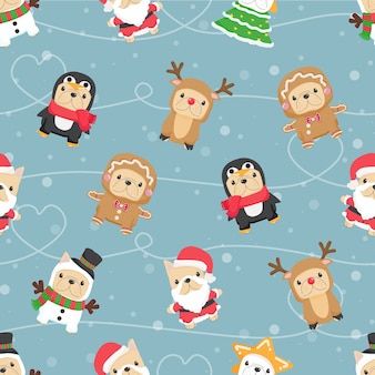 Ładny zabawny szczeniak buldoga francuskiego w kostium świąteczny wzór do pakowania tkanin lub papieru