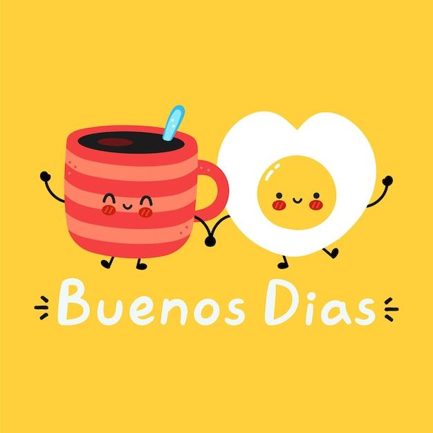 Ładny zabawny szczęśliwy kubek do kawy i postać z jajka sadzonego