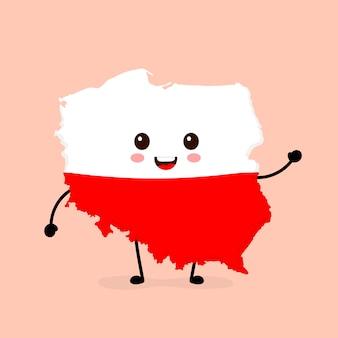 Ładny zabawny uśmiechający się szczęśliwy polska mapa i flaga postać.