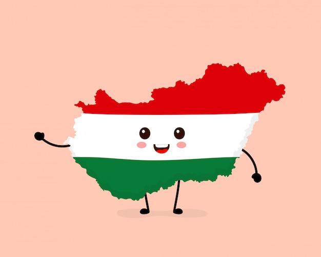 Ładny zabawny uśmiechający się szczęśliwy węgry mapę i flaga postać.