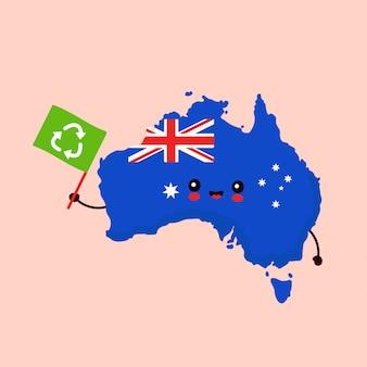 Ładny zabawny uśmiechający się zadowolony kawaii mapę australii znak z flagą recyklingu. ikona ilustracja kreskówka postać. ekologia australii, koncepcja recyklingu