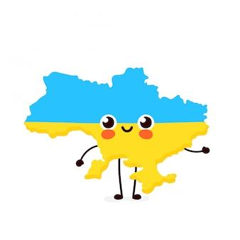 Ładny zabawny uśmiechający się zadowolony mapę ukrainy i znak flagi.