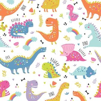 Ładny zabawny wzór dinozaurów dla dzieci.