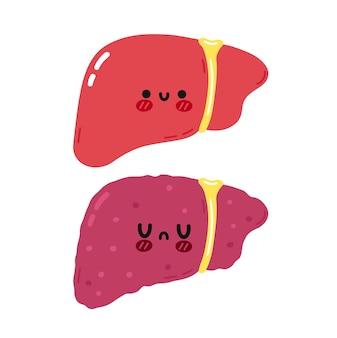 Ładny zabawny zdrowy i niezdrowy charakter narządów wątroby. wektor ręcznie rysowane kreskówka kawaii charakter ilustracja ikona. na białym tle. narząd wątroby człowieka, koncepcja postaci z kreskówek