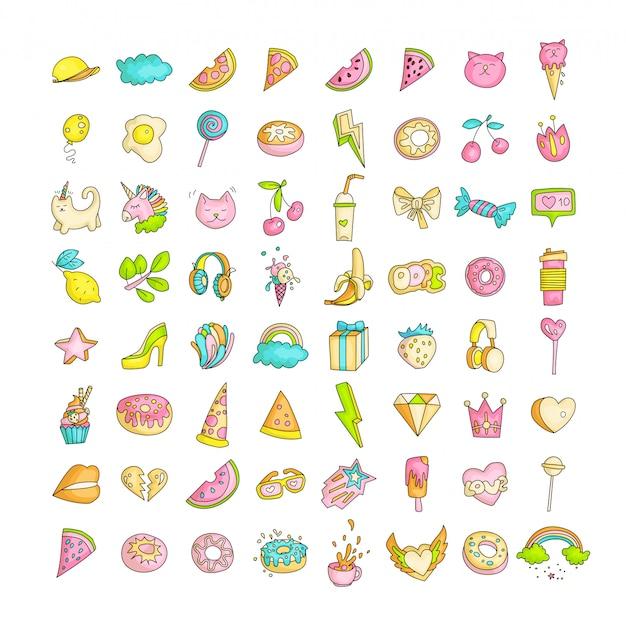 Ładny zabawny zestaw ikon dla nastolatki, mody słodkie ikony dla nastolatków i księżniczek - pizza, jednorożec, kot, lizak, owoce i inne ikony kolekcji rysowania linii nastolatków.